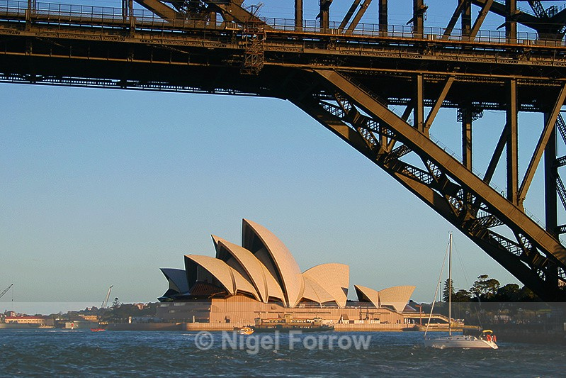 Sydney Opera House and detail of the Bridge in late afternoon sun - Australia