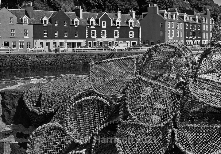 Tobermory waterfront from the quay (image Mull 004 - mono) - Monochrome