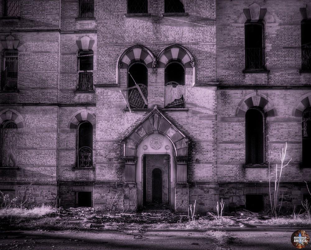 Infrared exterior, Algonquin River State Hospital   Abandoned America