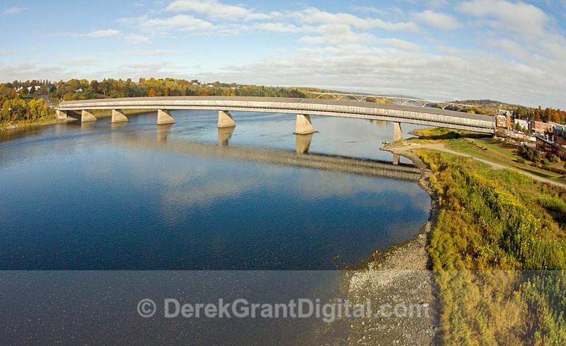 Hartland Covered Bridge Aerial View New Brunswick Canada - Covered Bridges of New Brunswick
