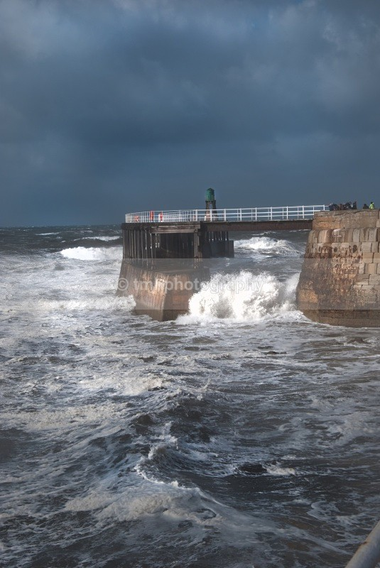 Rough Sea at Whitby Pier. - Yorkshire Coast