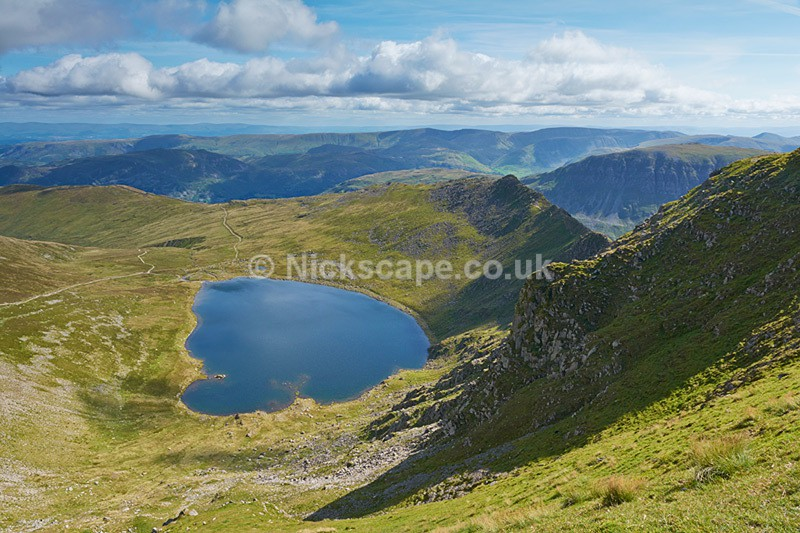 Red Tarn and Striding Edge from Helvellyn Summit - Lake District National Park