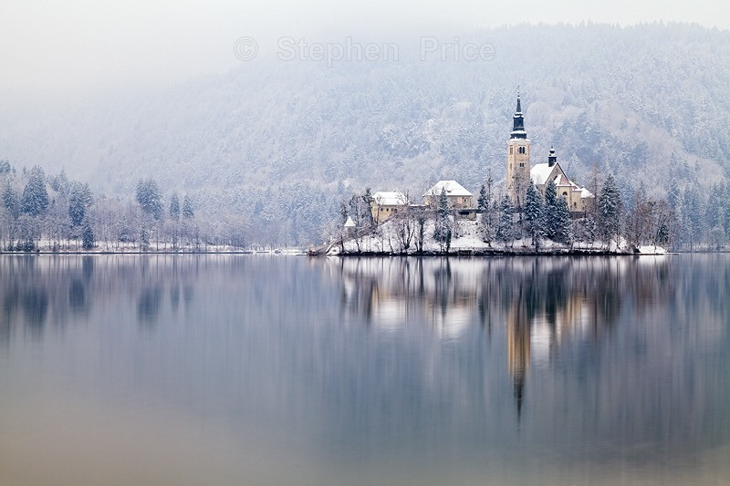 Mist and Snow Lake Bled | Lake Bled Winter | Slovenia