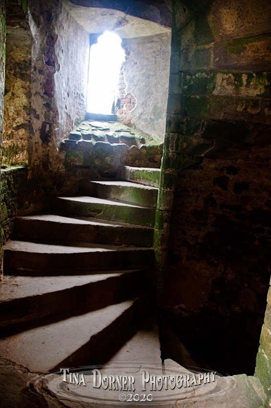 Spiral Staircase in tower, Raglan Castle.  from 'Hidden Stone,' Forest of Dean and Wye Valley Portfolio by Tina Dorner Photography