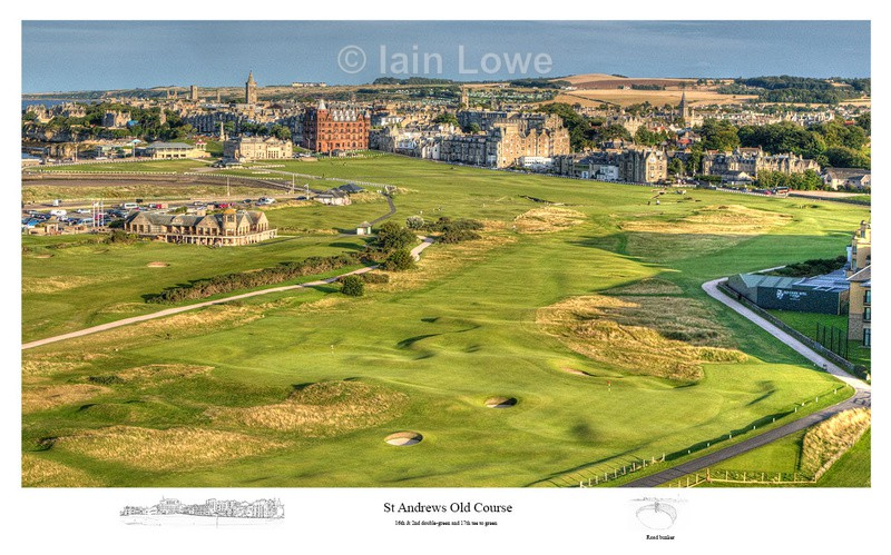 The Od Course Aerial Image -  The16th & 2nd double-green & 17th tee to - Scottish Links Aerial Images