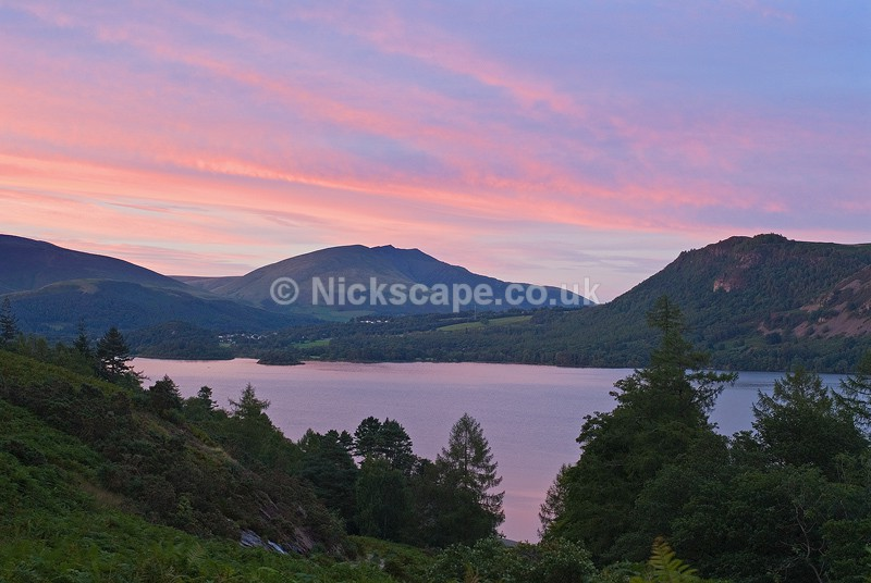 Photograph of sunset Derwent Water and Blencathra from Brandelhow Bay in the Lake District