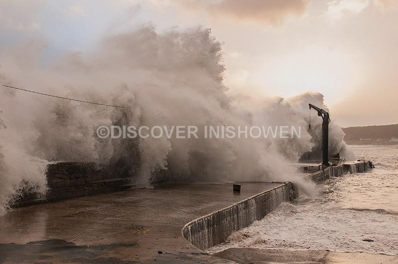 Bunagee Pier, Culdaff - Black Wednesday-Weather Bomb
