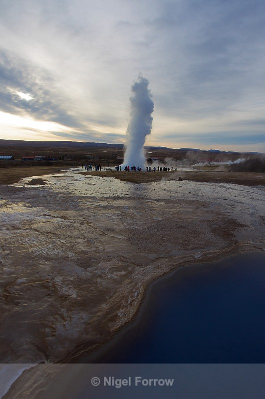 Strokkur erupts, Blesi hot water pools in the foreground - Iceland