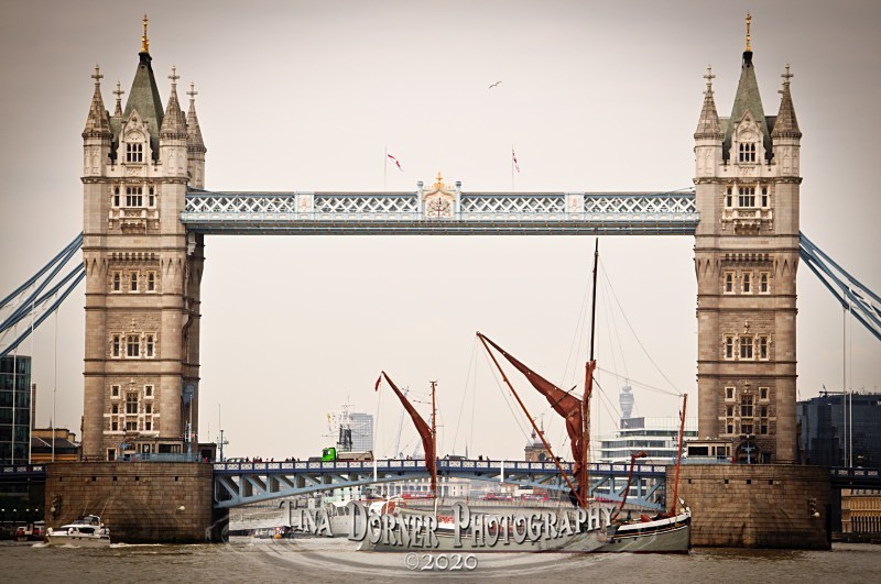 Tower Bridge with Sailing Barge, River Thames, London.  from 'Commercial' Portfolio by Forest of Dean & Wye Valley Photographer Tina Dorner
