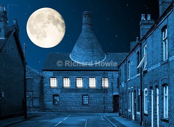 Moonlit Heron Cross - The Potteries by Moonlight