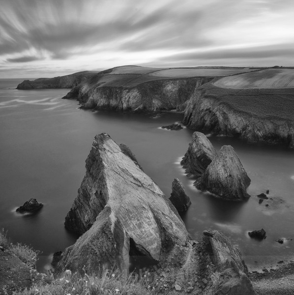 Fine Art Monochrome Of Dusk At Nohoval Cove, Co. Cork, Ireland.