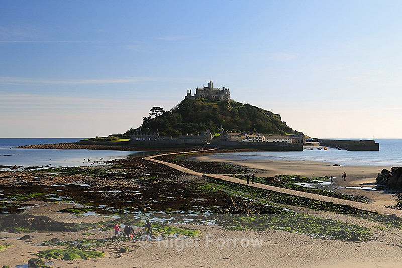 St. Michael's Mount in late afternoon sunshine at low tide - Cornwall, England