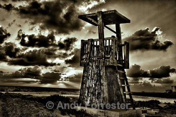 Tower in Twilight - Black and White