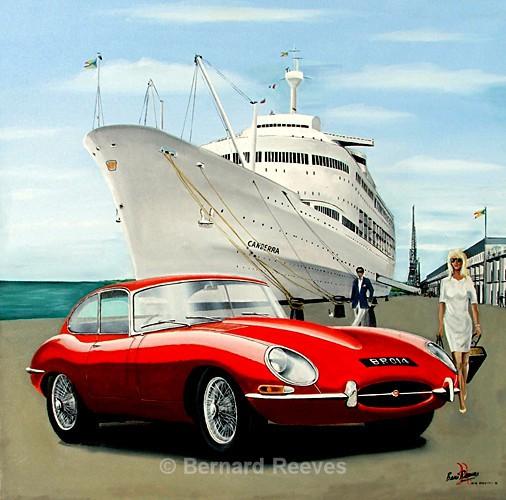 Jaguar E-Type and Canberra- Southampton Docks - Classic cars