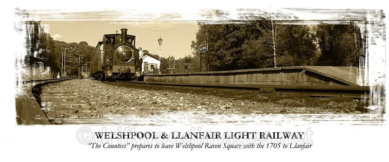 The Countess prepares to leave Welshpool Raven Square with the 1705 - The Welshpool & Llanfair Light Railway