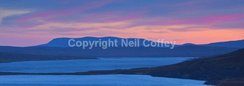 Ben Armine sunset over Loch Loyal, Sutherland - Panoramic format
