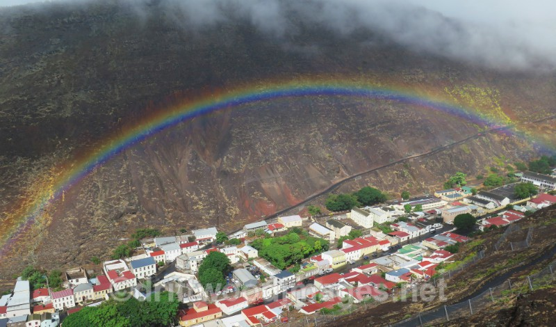 St Helena Jamestown and valley from road with rainbow - St Helena, South Atlantic Ocean