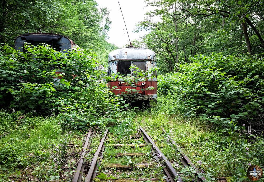 Trolley Graveyard   Orange and White St Louis PCC PA Transit Car - The Trolley Graveyard