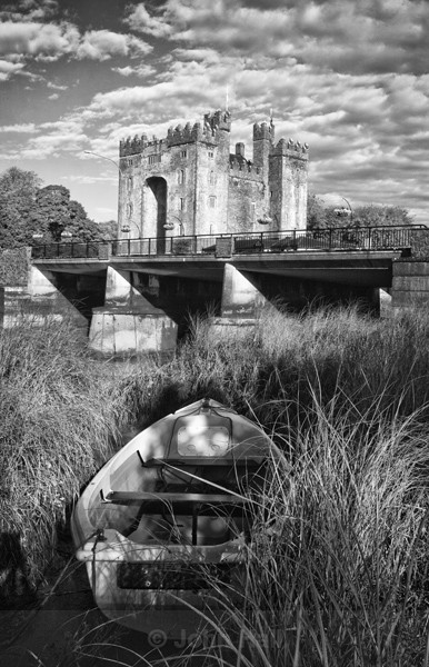 Fine Art Monochrome Of Boat At Bunratty Castle, Ireland.