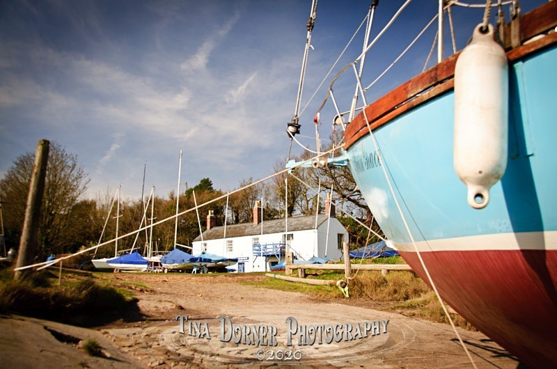 Yacht at Lydney Harbour by Tina Dorner Photography, Forest of Dean and Wye Valley, Gloucestershire