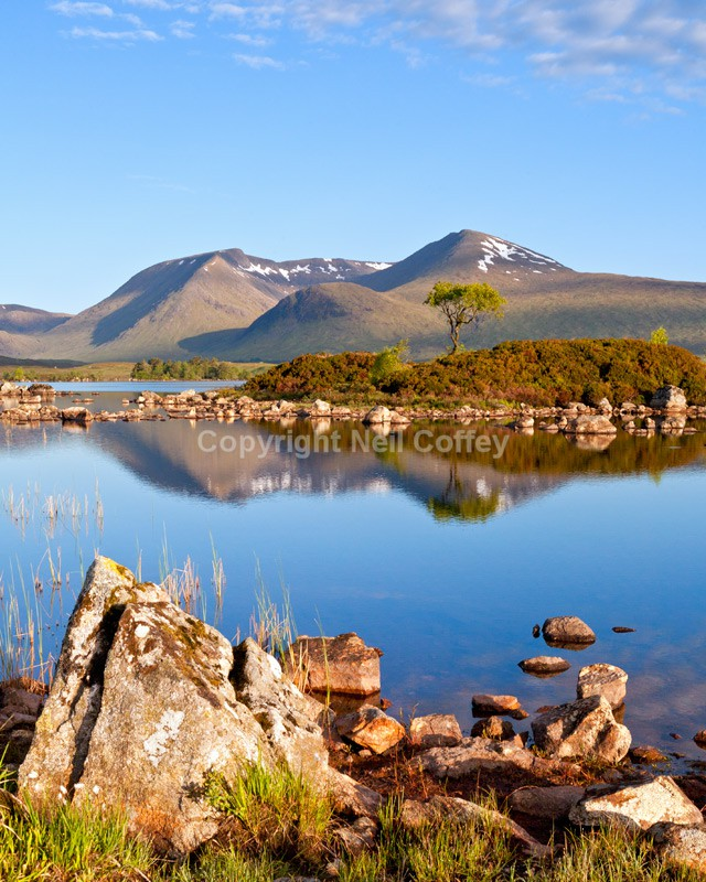 Lochan na h'Achlaise & Black Mount, Rannoch Moor, Highland - Portrait format