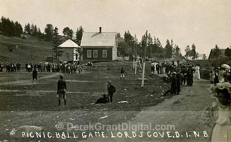 Ball Game & Picnic Lord's Cove Deer Island New Brunswick Canada 1909 - Historic New Brunswick