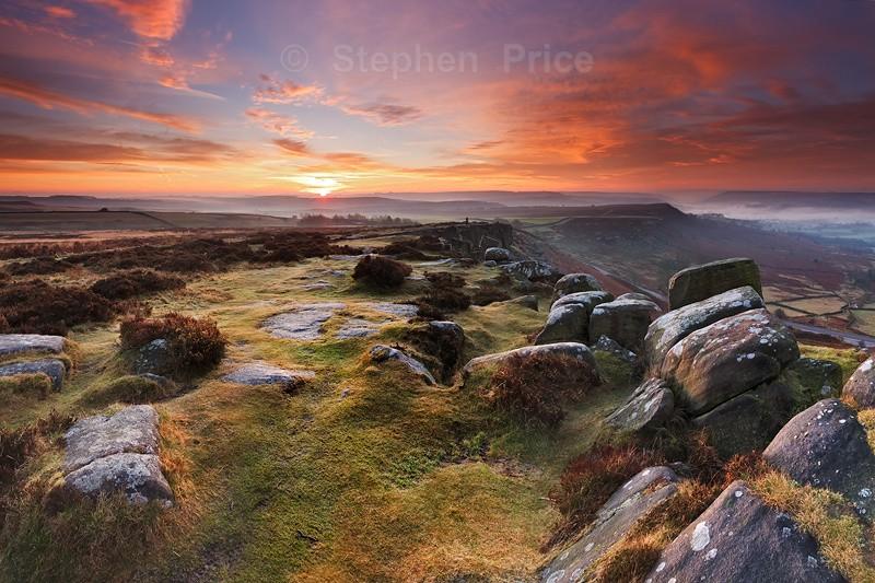 Curbar Edge Red Sky | Dawn Photography Peak District