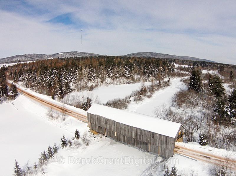 Millstream River #5 Covered Bridge Centerville NB Canada Aerial view - Covered Bridges of New Brunswick