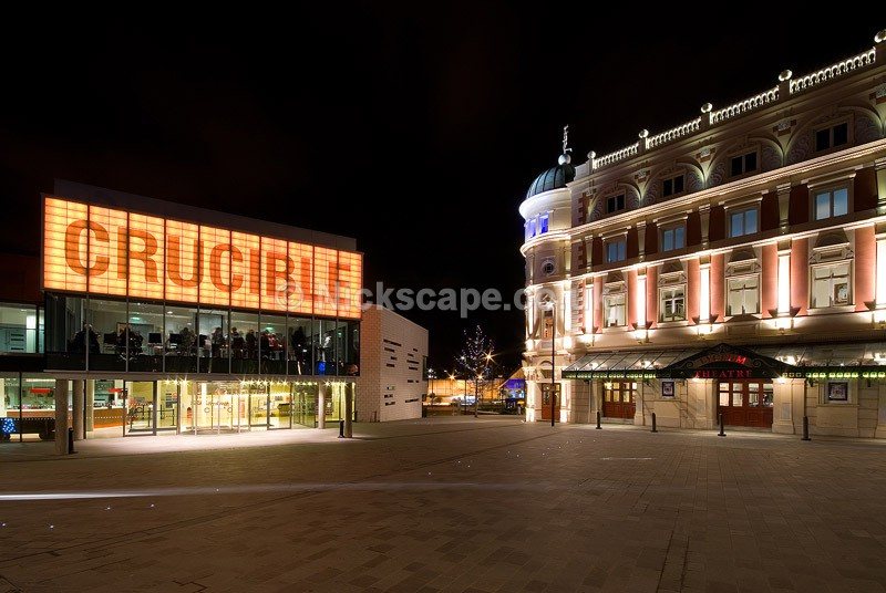 Crucible & Lyceum Theatre in Tudor Square at Night - Sheffield, UK - Yorkshire