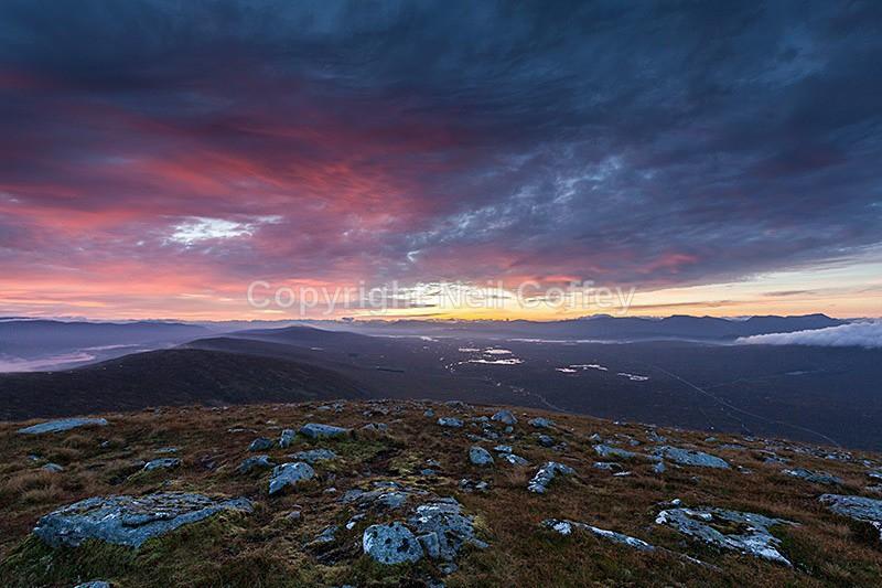 Sunrise over Rannoch Moor from Beinn a'Chrulaiste, Glen Coe, Highland - Landscape format