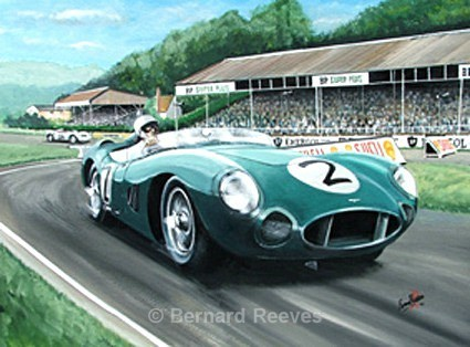 Stirling Moss in an Aston Martin 1958 TT Goodwood - Classic cars