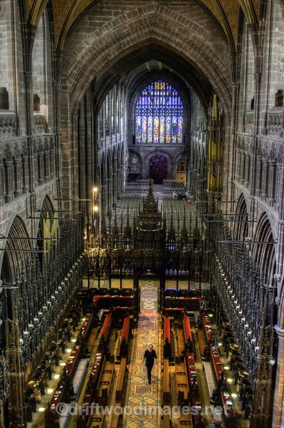 Chester Cathedral At Height view from above HDR reduced - High Dynamic Range pictures