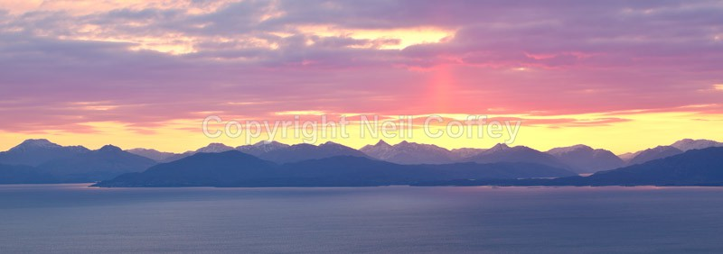 Sunrise over Knoydart from the Isle Of Eigg - Panoramic format