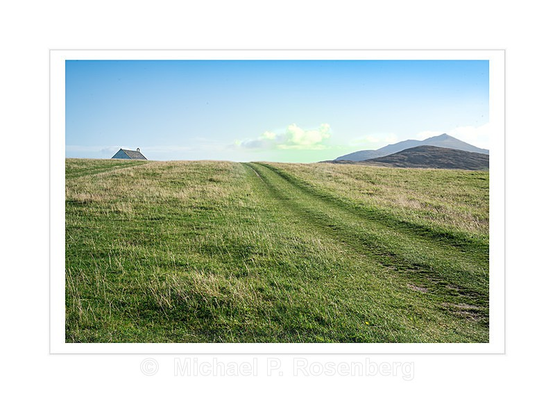 Field and Track With Church, Near Lockskipport Outer Hebrides - Scotland, UK
