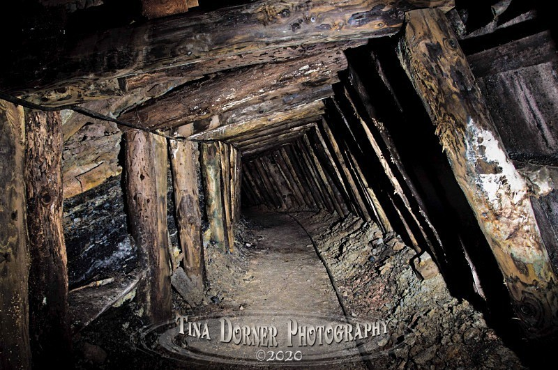 Timber supports in  Mine Tunnel by Tina Dorner Photography, Forest of Dean and Wye Valley, Gloucestershire