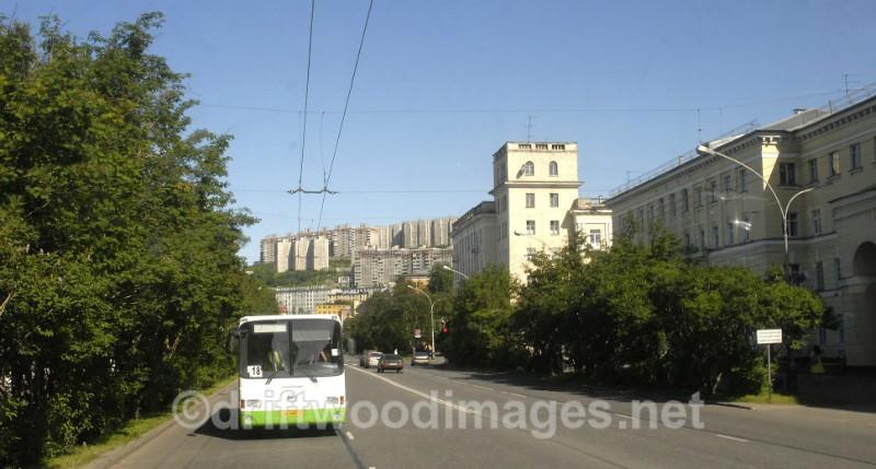 Murmansk street and trolley bus - Murmansk, Russia