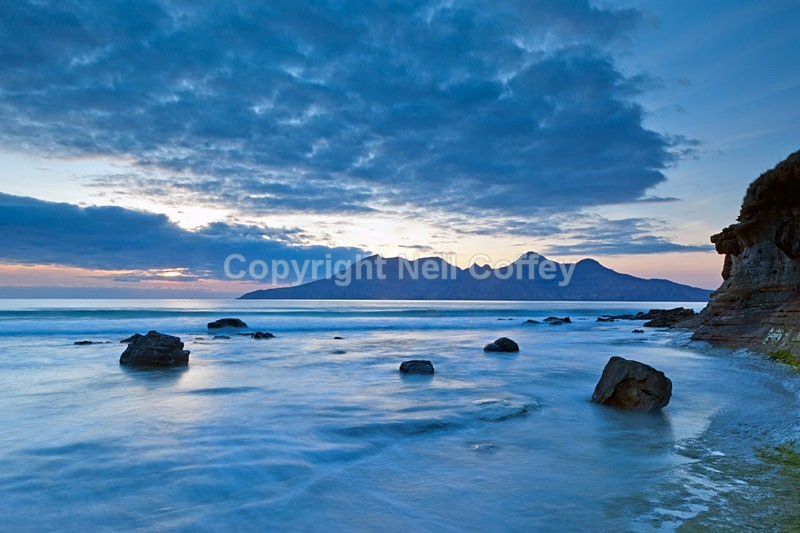 Isle of Rum from Laig Bay, Isle Of Eigg - Landscape format