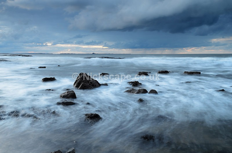 Storm at Bamburgh Beach at twilight landscape photo | Seascape Photography by Nickscape