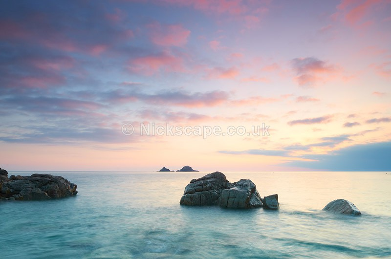 Sunset at National Trust Porth Nanvan Beach   Cornwall Seascape Photography Gallery