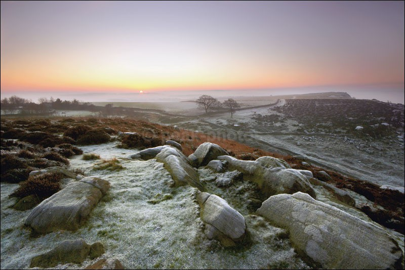 Frost on Curbar Edge - Peak District Winter