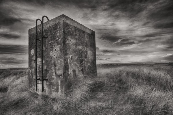 Fine art monochrome of an abandoned ruin at Baltray, Co. Louth, Ireland.