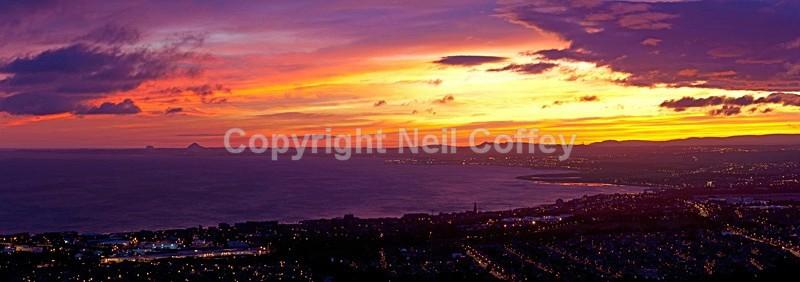 East Lothian sunrise from Arthurs Seat, Edinburgh - Panoramic format
