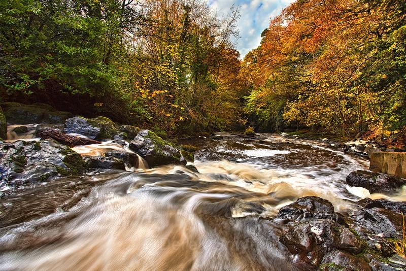 Crumlin River In Full Flow Through Crumlin Glen