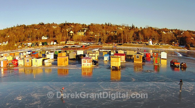 Renforth Ice Fishing Village Rothesay NB Canada Aerial View - Ice Shacks