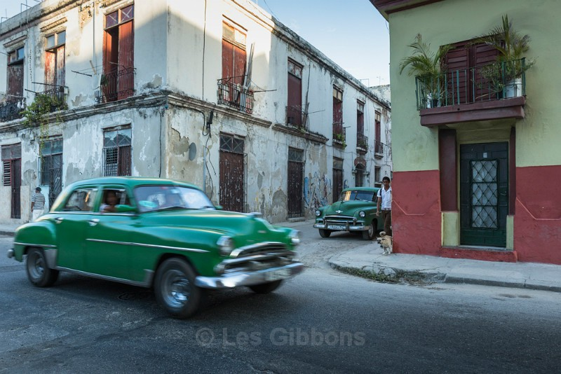 two green cars - Cuba