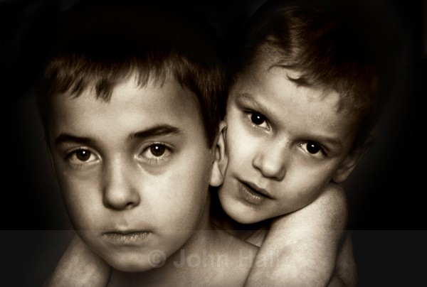 brothers in arms,monochrome,two boys.