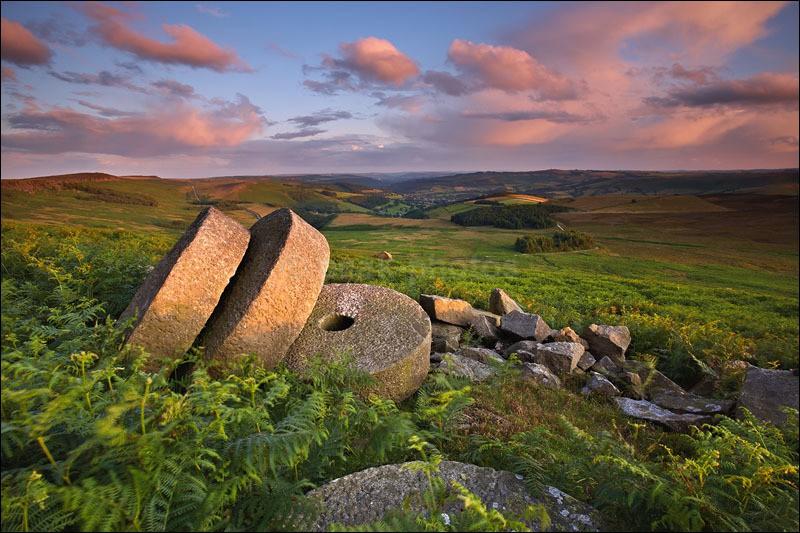 Stanage millstones under Pink Skies - Peak District   Dark Peak