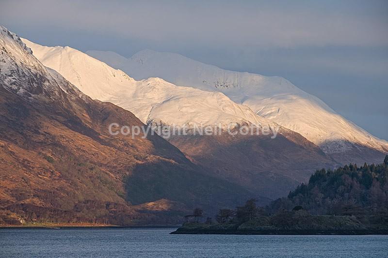 Am Bodach and Na Gruagaichean across Loch Leven, Highland - Landscape format