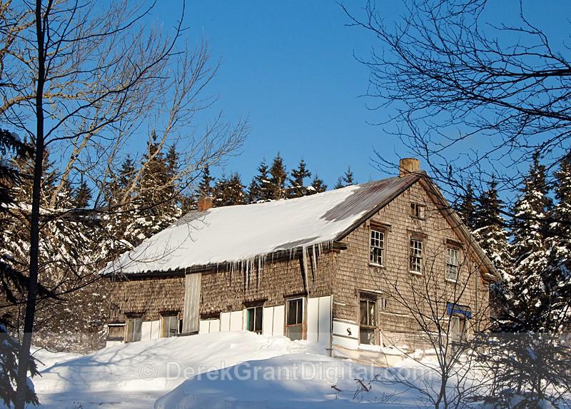 Old Barn in Winter New Brunswick Canada - Old Barns & Buildings