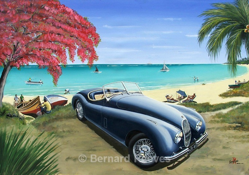 Blue XK120 on the beach - Classic cars on the beach